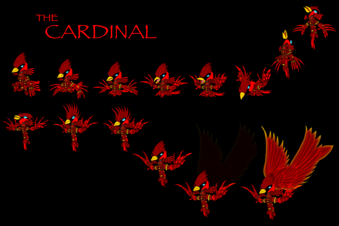 A still image of a frame-by-frame animation of the Cardinal Shaman.