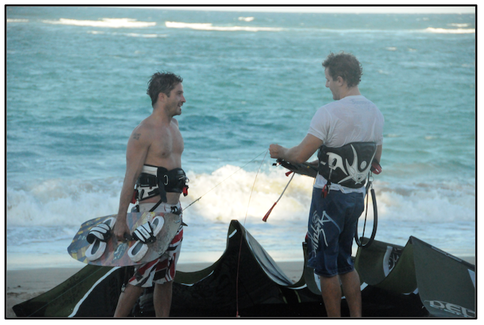 Scott and Chris talking after a kiteboard session - Dominican Republic 2009