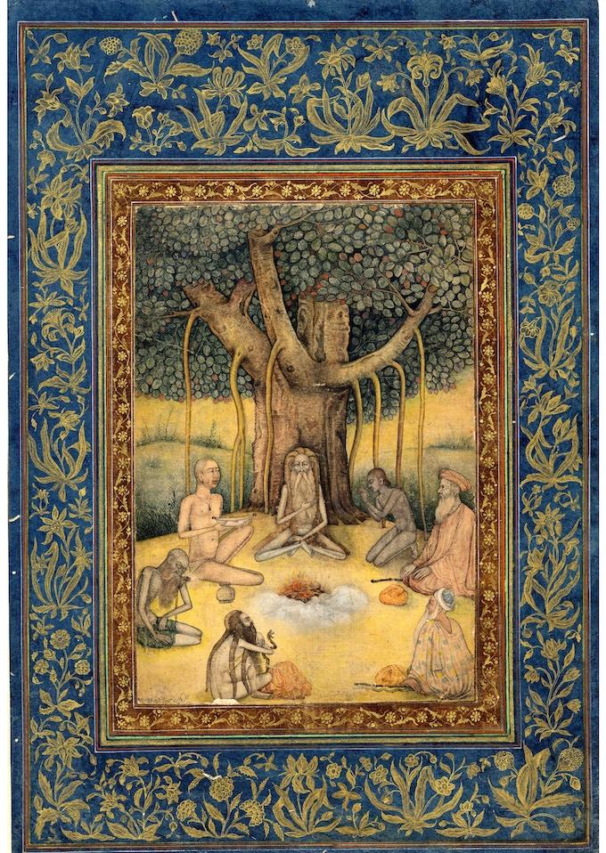 Yogis under a banyan tree, Mughal, 1630