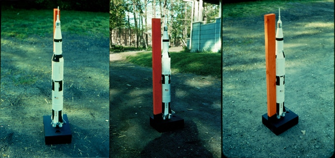 FRONT VIEW, SIDE VIEW, REAR VIEW OF MY DAD'S SATURN V WITH LAUNCH PAD, 1973