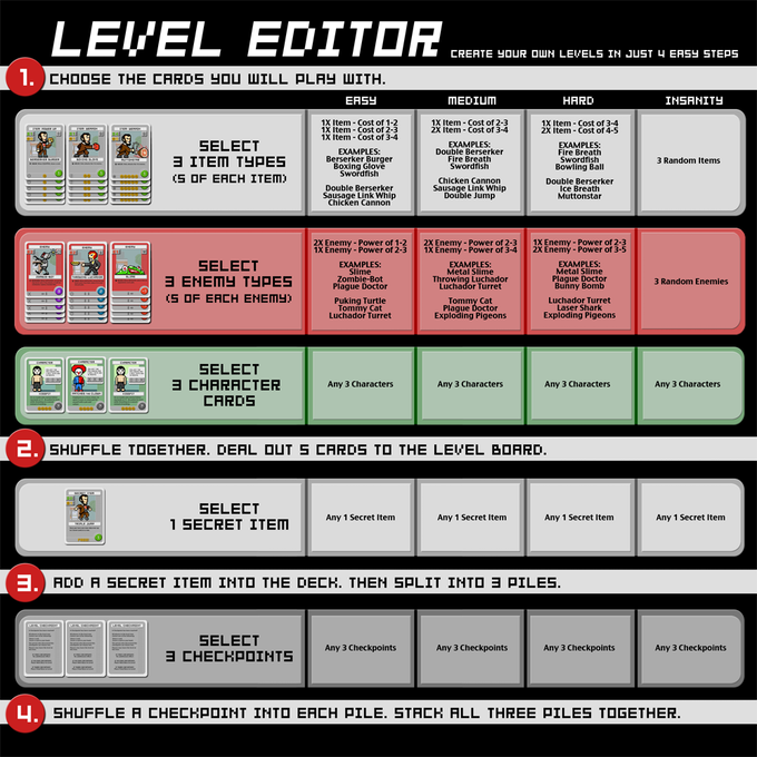 The Level Editor is an insert to help players build levels in varying difficulties (Easy, Medium, Hard and Insanity) without having to consult the rulebook.