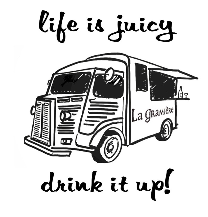 The logo for our T-shirt and the wine chiller!