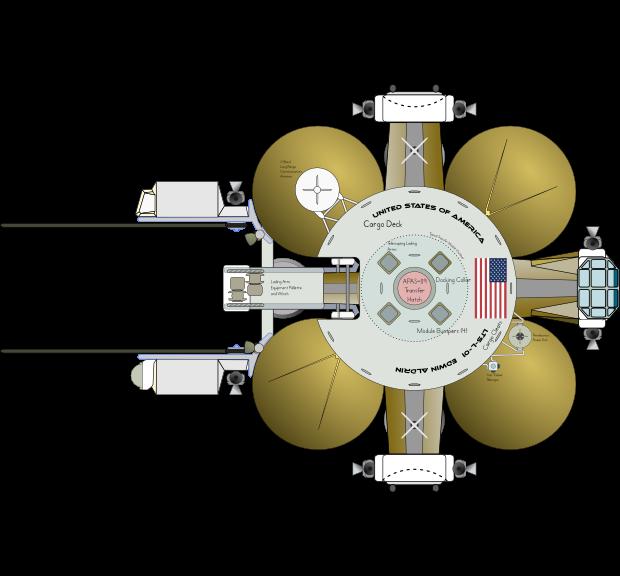Lunar Transportation System Lander (Plan-Top) by Terry Hancock