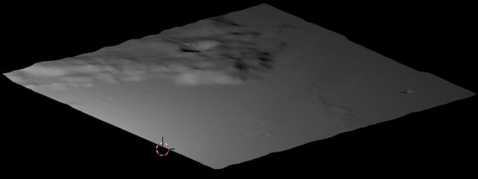 Terrain model from LRO radar altimeter data contributed by Allen Ecker