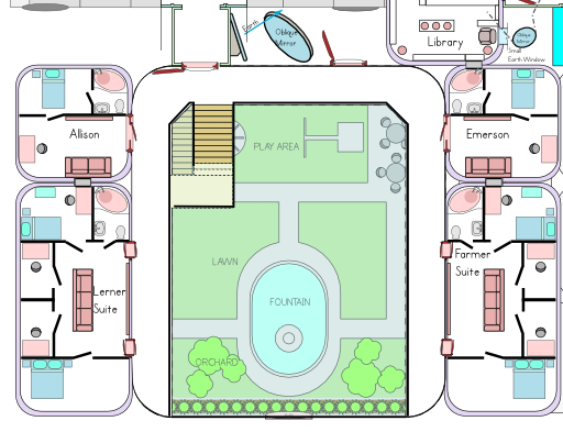 """Detailed floorplans of the ISF Colony have been created to support modeling the virtual sets (this shows the """"courtyard"""" recreational area in the colony, surrounded by the living areas."""