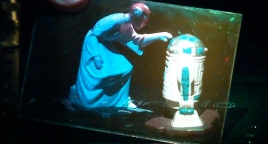 Obligatory Princess Leia hologram (in color) - R2D2 is real, she's a hologram. Can you tell?