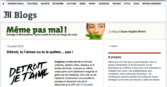 The French newspaper LeMonde.fr featured us on 07/12/12