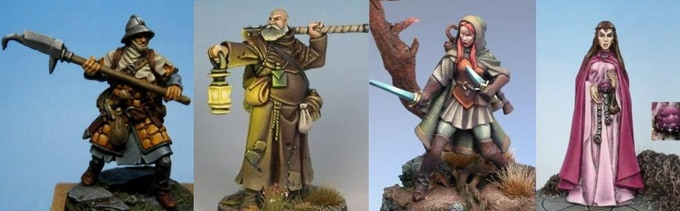 Fighter, Cleric, Elf Ranger, and Elf Mage