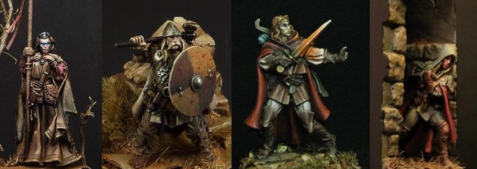 Half Elf Druid, Barbarian, Elf bard, Elf Thief