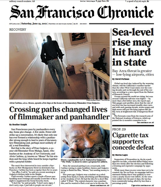 Moses featured on the cover of the San Francisco Chronicle