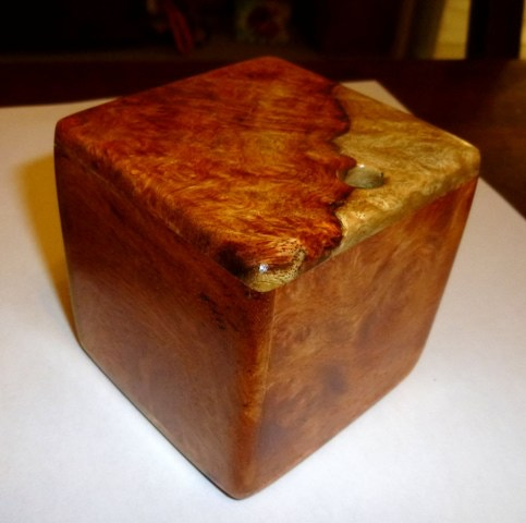 AMBOYNA BURL is currently offered in several sizes, a 3 inch maze at $110.00 each and more challenging 3.5 and 5 inch mazes with multiple entrances and exits begin at $175.00 and $450.00 each respectively.