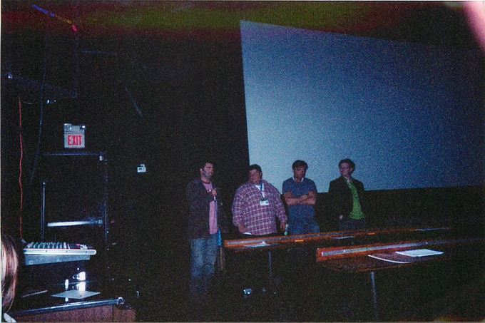 Our post-screening Q&A. (From Left, Director, Scott Glosserman, Actor, Britain Spellings, Executive Producer, Andrew Lewis, Composer, Gordy Haab)