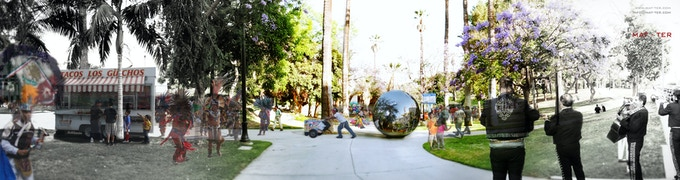 Illustration of La Burbuja Sound Booth at MacArthur Park, LA
