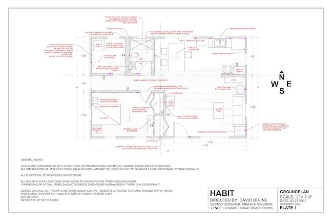 Marsha Ginsberg's set plan for Luminato Festival, Summer 2011