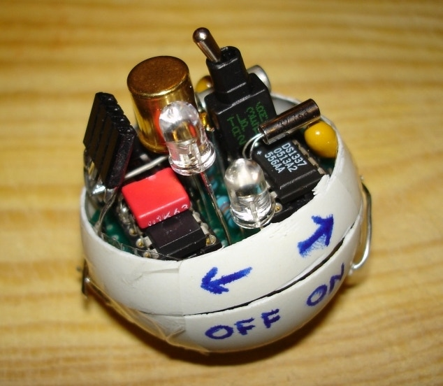 The inside of a PongSat, one of the ping pong-like objects being sent into space.