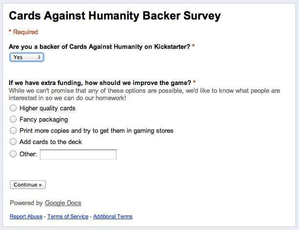 Survey questions linked from Project Update #3