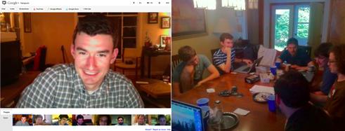 Google Hangout brainstorming session; writers' retreat.