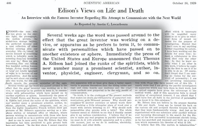 """Excerpt from """"The Scientific American"""" October 30, 1920"""