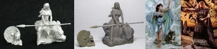 32m metal Kreimhild & 54mm Kreimhild & 54mm Danu With Wolf & 54mm Bodbh With Cairn