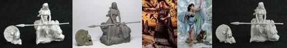 32mm metal Kreimhild & 54mm Kreimhild & 54mm Danu With Wolf & 54mm Bodbh With Cairn & 32mm KICKSTARTER ONLY RESIN Kreimhild