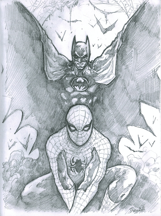 """SKETCH COMMISSION"" example: Spiderman and Batman"