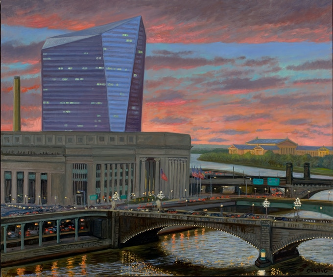 """Cira Centre at Sunset, oil on canvas, approx. 36x60"""" (see $5,000 pledge award))"""
