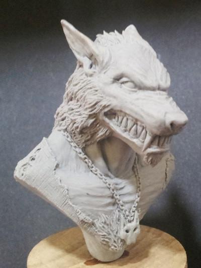 Werewolf Bust sculpted by Olivier Bouchet.