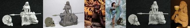 32mm metal Kreimhild's Revenge & 54mm Kreimhild's Revenge & 54mm Bodbh with Cairn & 54mm Danu With Wolf & 32mm Kickstarter only Resin Kreimhild's Revenge & 200mm Grail Maiden Bust