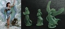 54mm Danu With Wolf & 3 Figure Swan Maiden Set