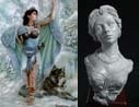 54mm Danu With Wolf & Katherine, Elegant Lady Bust