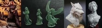 54mm Bodbh With Cairn & 3 Figure Swan Maiden Set & Werewolf Bust & Katherine, Elegant Lady Bust
