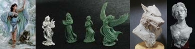 54mm Danu With Wolf & 4 Figure Swan Maiden Set & Werewolf Bust & Katherine Elegant Lady Bust