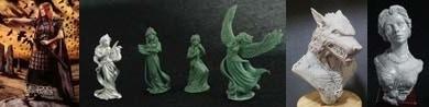 54mm Bodbh With Cairn & 4 Figure Swan Maiden Set & Werewolf Bust & Katherine, Elegant Lady Bust