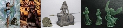 54mm Danu With Wolf & 54mm Bodbh With Cairn & 54mm Kreimhild's Revenge & 3 Figure Swan Maiden Set