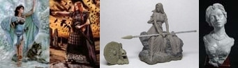 54mm Danu With Wolf & 54mm Bodbh With Cairn & 54mm Kreimhild's Revenge & Katherine, Elegant Lady Bust