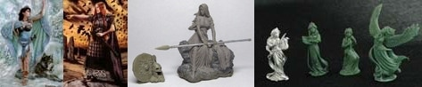 54mm Danu With Wolf & 54mm Bodbh with Cairn & 54mm Kriemhild's Revenge & 4 Figure Swan Maiden Set