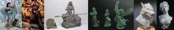 54mm Danu With Wolf & 54mm Bodbh With Cairn & 54mm Kreimhild's Revenge & 3 Figure Swan Maiden Set & Werewolf Bust & Katherine, Elegant Lady Bust