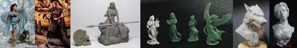 54mm Danu With Wolf & 54mm Bodbh With Cairn & 54mm Kreimhild's Revenge & 4 Figure Swan Maiden Set & Werewolf Bust & Katherine, Elegant Lady Bust