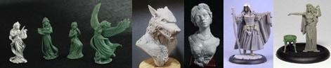 4 Figure Swan Maiden Set & Werewolf Bust & Katherine, Elegant Lady Bust & 54mm resin Shar, The Traveler & 32mm Medb Set