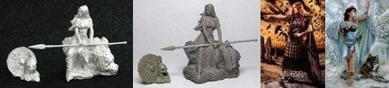 32mm metal Kreimhild's Revenge & 54mm Kreimhild's Revenge & 54mm Bodbh With Cairn & 54mm Danu With Wolf