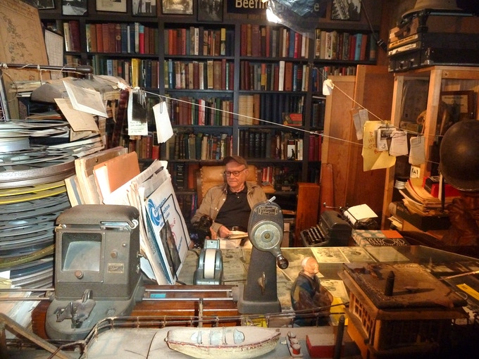 Buck Henry reading in Sam's office. Go to the official A FULLER LIFE Facebook page to see more behind-the-scenes photos