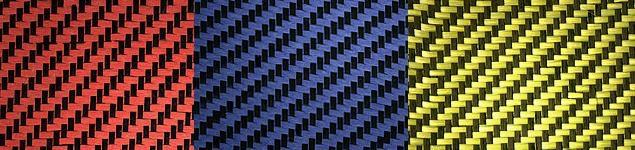 Red, Blue or Yellow Carbon Fiber / Kevlar Hybrid