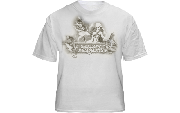 """The awesome Shadow Remnants T-Shirt reads """"Backer"""" on the back! (Design is not final)"""