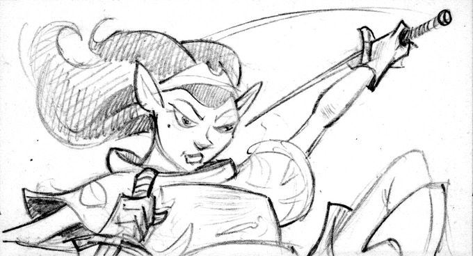 The Elf Rogue: another adventure card sketch. She is rare!