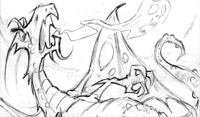 Sketch: Dragon Lich Room, a Guardian's beast fiend and best friend.