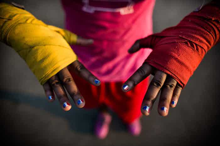 """The hands of 17 year-old Claressa """"T-Rex"""" Shields, the youngest woman to ever box in the Olympics."""