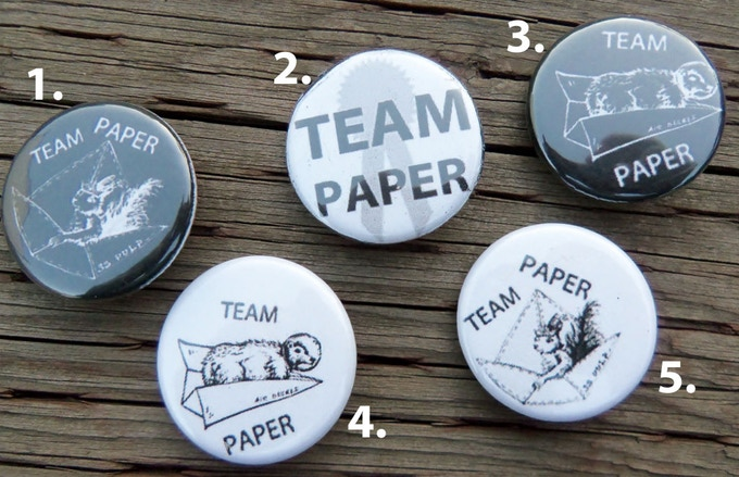 "Pick your own 1"" TEAM PAPER button flare (layout may vary)"