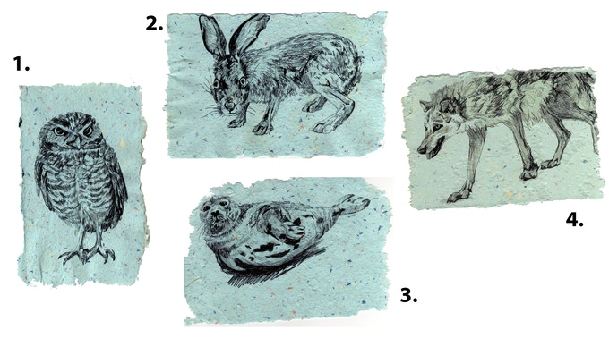 "Your choice of 4 animals printed on handmade paper (approx. 5x7"", color & size will vary)"