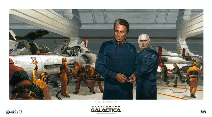 A recent Battlestar Galactica painting by Dave Dorman (used with permission).