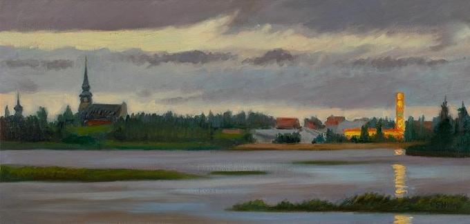 """""""View of Kemijarvi, Finland"""" oil on canvas, 10x20"""" (see $600 pledge reward)"""